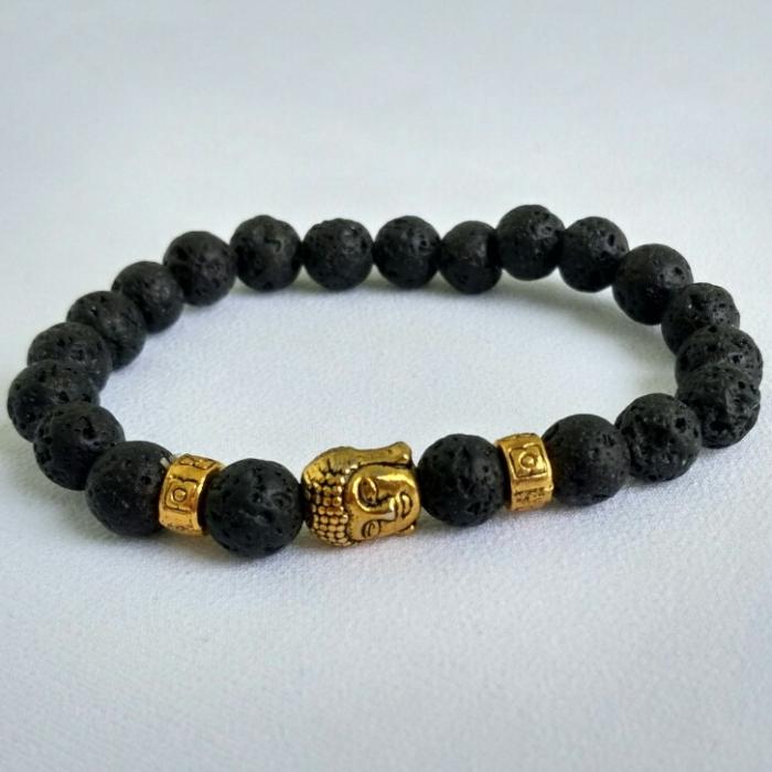 Будда - браслет из вулканической лавы #3